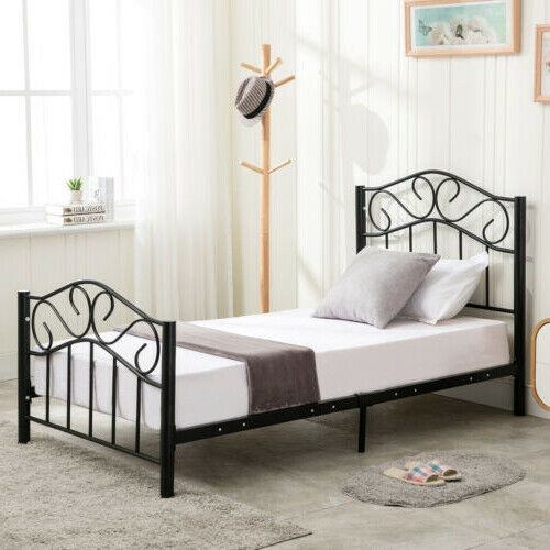 metal bed frame adjustable twin full queen heavy duty w center support platform ebay. Black Bedroom Furniture Sets. Home Design Ideas