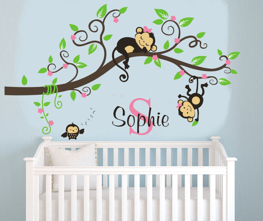 4 Cute Monkeys Wall Decals Sticker Nursery Decor Mural: Wall Stickers Custom Name Monkey Branch Girl Kids Vinyl