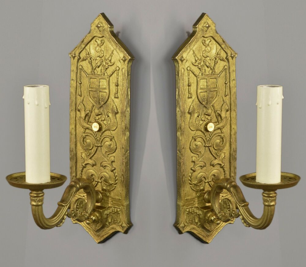 Brass Tudor Revival Wall Sconces c1930 TWO PAIR AVAILABLE Vintage Antique Gold eBay