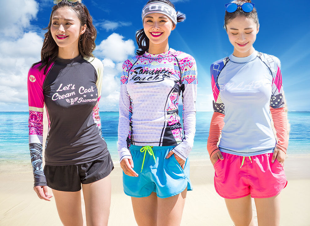 Women long sleeve rash guard sun shirts uv surf swim top lycra swimwear top ebay for Rash after swimming in pool pictures
