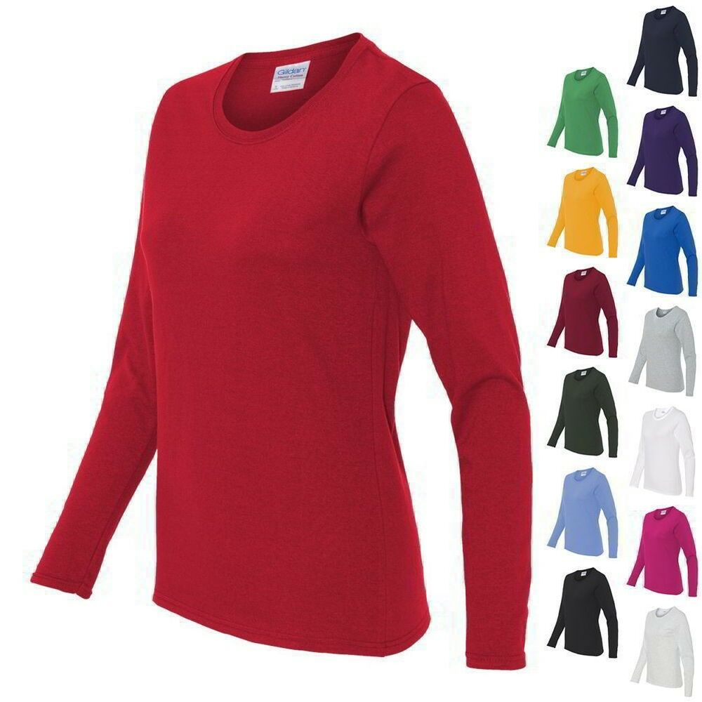 Gildan ladies heavy cotton missy fit long sleeve t shirt for Women s long sleeve fitted t shirts