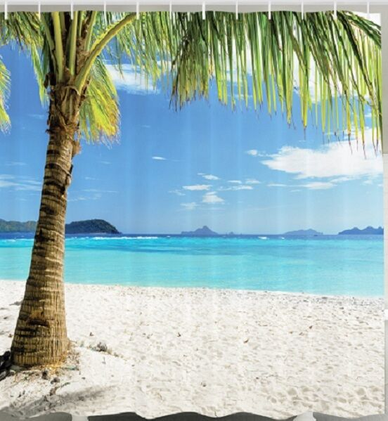 Paradise Beach: Island Paradise Beach Fabric SHOWER CURTAIN Sand Ocean