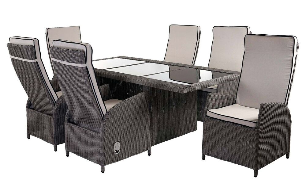 poly rattan lounge garnitur set glas tisch st hle sitzgruppe garten gartenm bel ebay. Black Bedroom Furniture Sets. Home Design Ideas