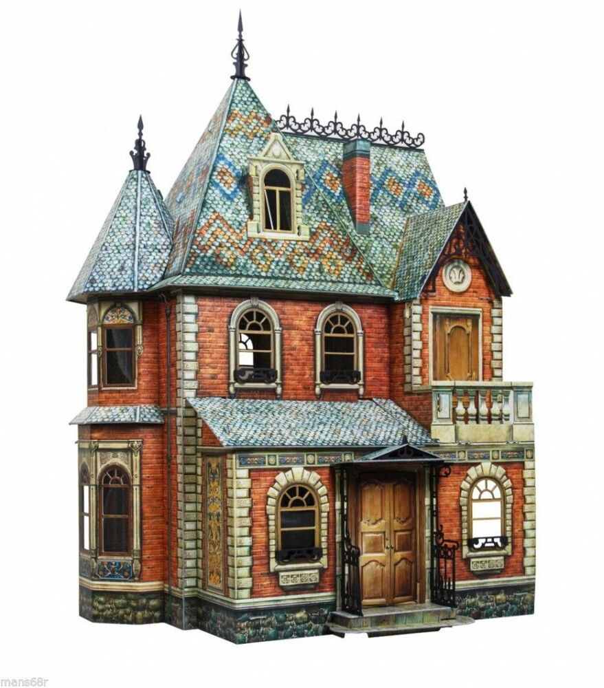 Victorian doll house 1 diy dollhouse miniature scale 1 12 for Victorian kit homes