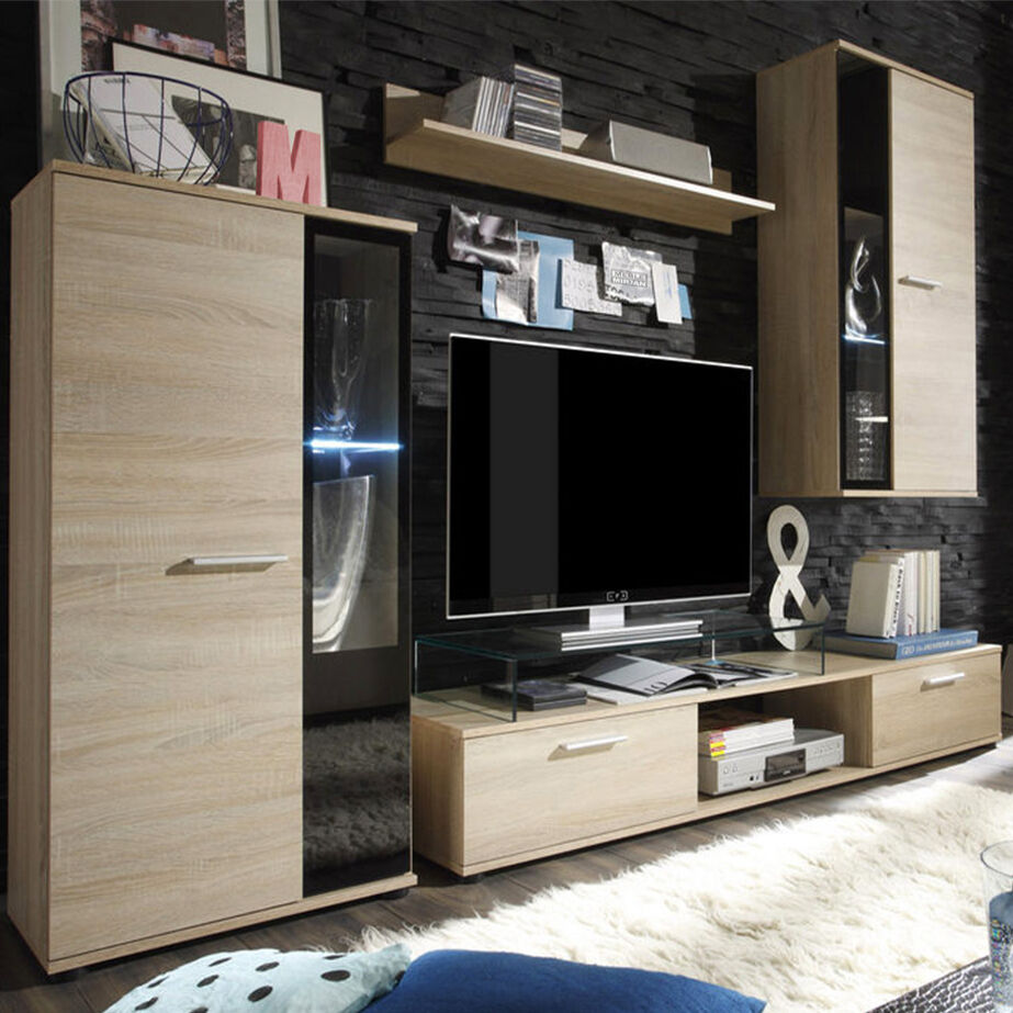 wohnw nde wohnzimmer set m bel logo lowboard vitrine. Black Bedroom Furniture Sets. Home Design Ideas