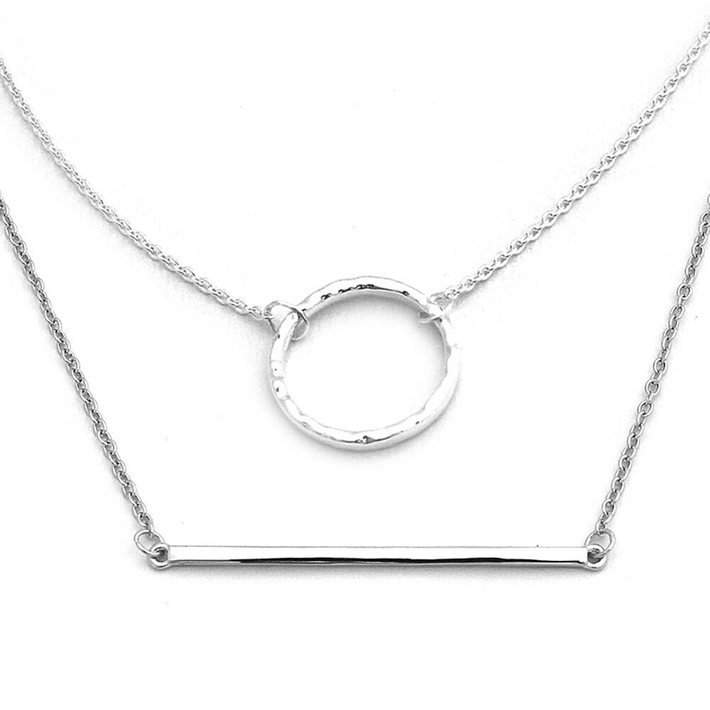 Sterling Silver Delicate Open Circle and Bar Necklace Set   eBay