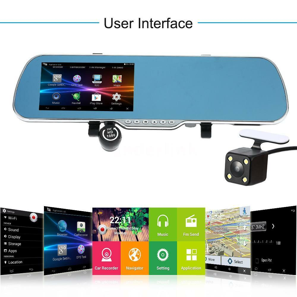 5 android smart gps navigation hd car rearview mirror dvr for Ebay motors app for android