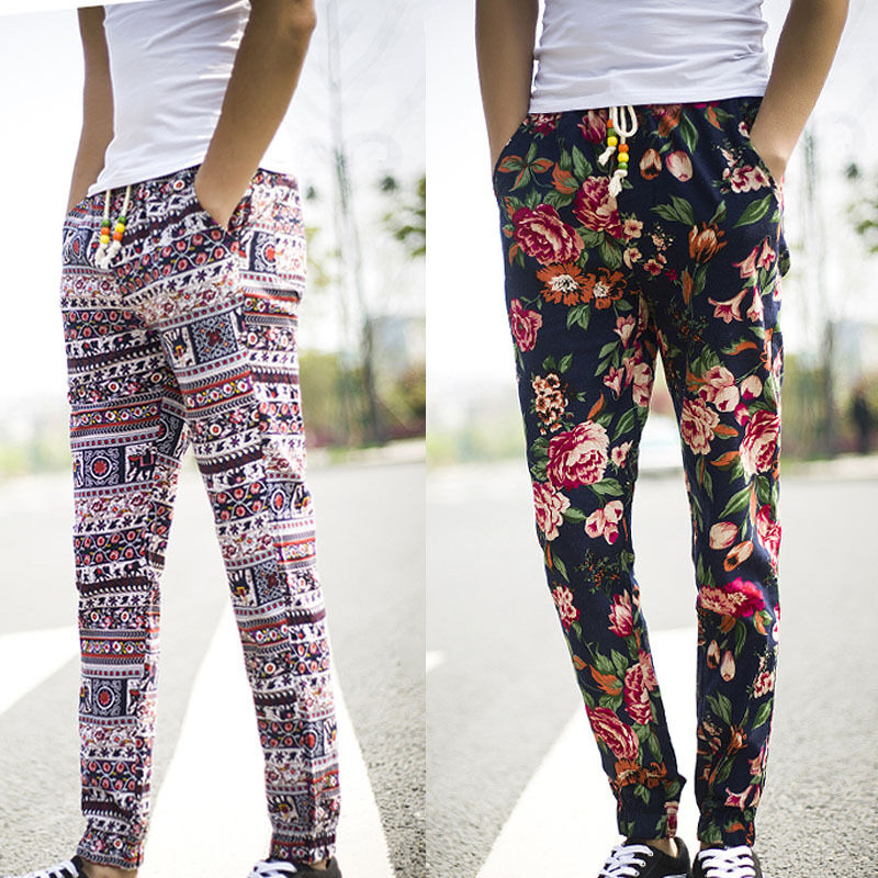 Fashion mens boys floral beach pants personalized bloomers trousers size M-5XL #.