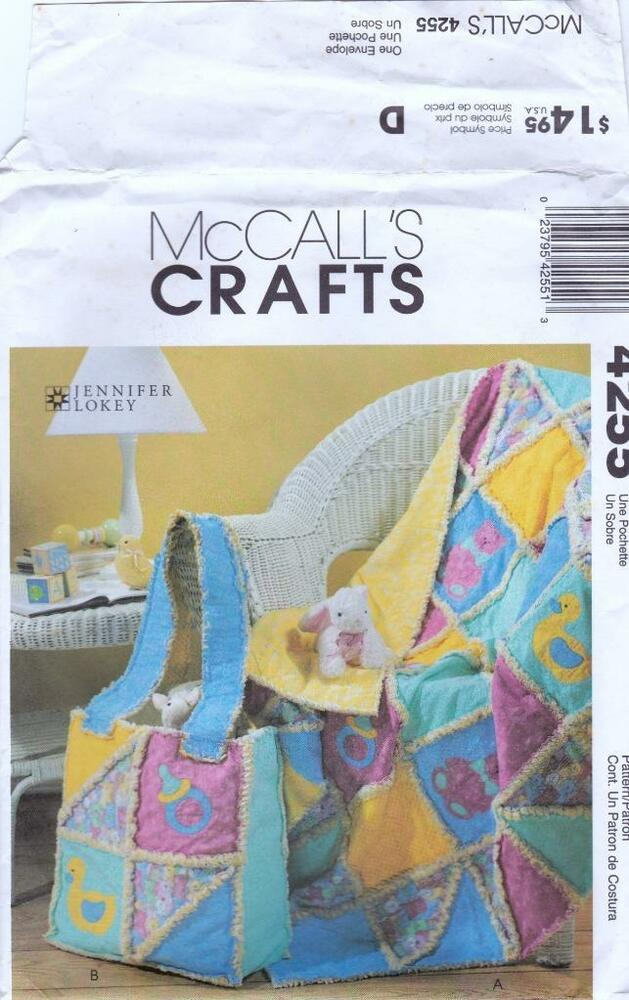 4255 McCalls Crafts Sewing Pattern Rag Quilt and Diaper Bag for Baby eBay
