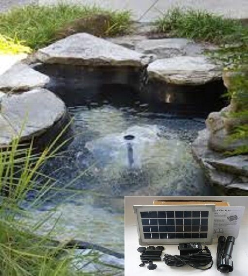 Solar pond fountain 3 5w water pump 300lph dry run for Solar pond filter
