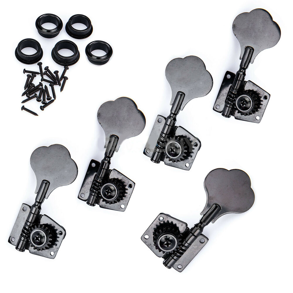 bass guitar string tuning pegs keys tuners 4r 1l black machine head knobs new ebay. Black Bedroom Furniture Sets. Home Design Ideas