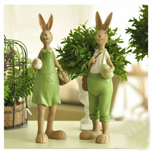 Easter Gifts Home Decor Resin Green Rabbit Bunny Holding Eggs Figure Figurine Ebay