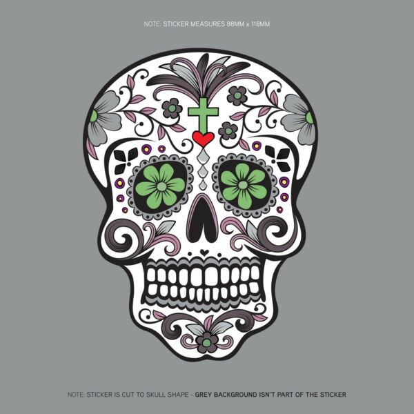 Day Of The Dead - Calavera - Sugar Skull - Flower - Decal/Sticker - SKU1126