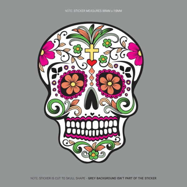 Day Of The Dead - Calavera - Sugar Skull - Flower - Decal/Sticker - SKU1131