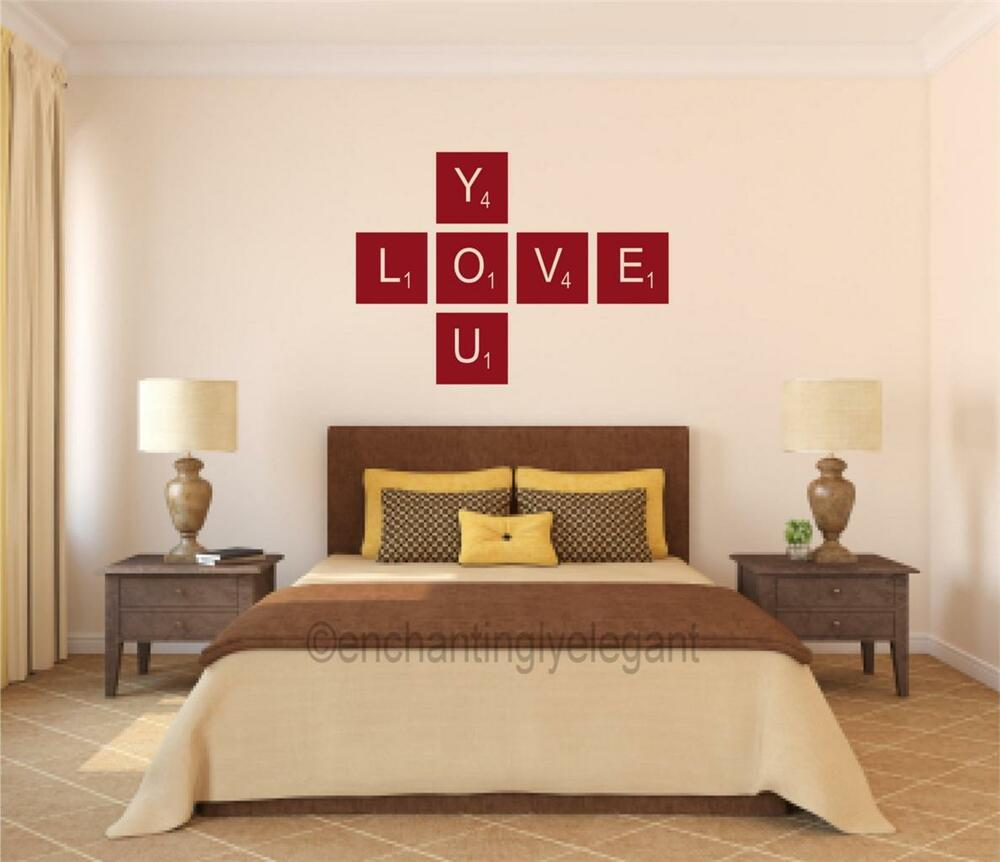 Love You Scrabble Tiles Vinyl Decal Wall Sticker Words ...