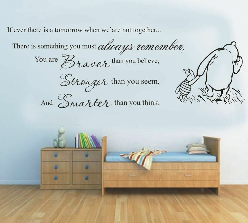wall stickers winnie the pooh you braver stronger vinyl decal decor nursery kids ebay. Black Bedroom Furniture Sets. Home Design Ideas