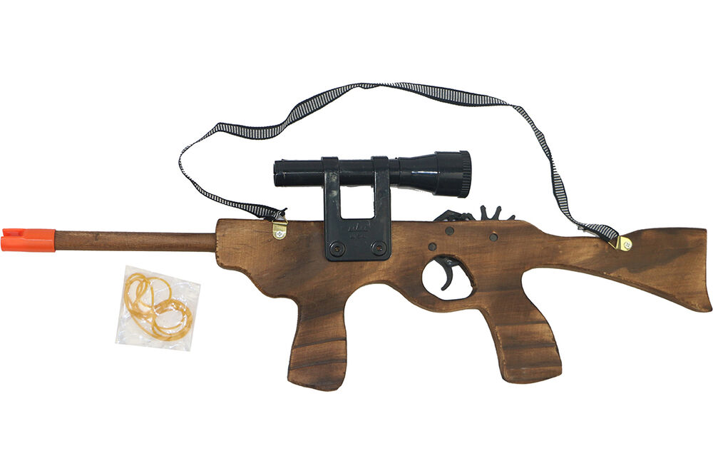 Wooden M4 Rubber Band Rifle Shooting Gun Wood Toy Gift For