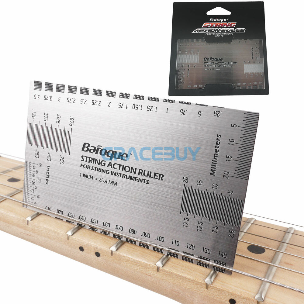 string gauge action ruler guide setup measuring luthier for electric guitar bass ebay. Black Bedroom Furniture Sets. Home Design Ideas