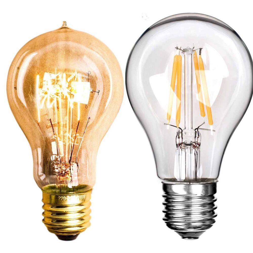 2 model a19 bulbs 40 60w retro vintage edison globe 4 6w modern led lamp lights ebay. Black Bedroom Furniture Sets. Home Design Ideas