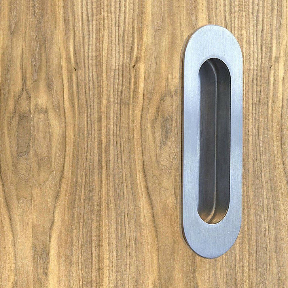 Oval flat plate flush recessed stainless steel cabinet for Door pull handles