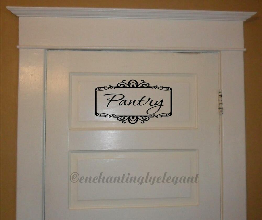Kitchen Wall Sayings Vinyl Lettering: Pantry With Scroll Border Vinyl Decal Wall Sticker Words Lettering Kitchen Decor