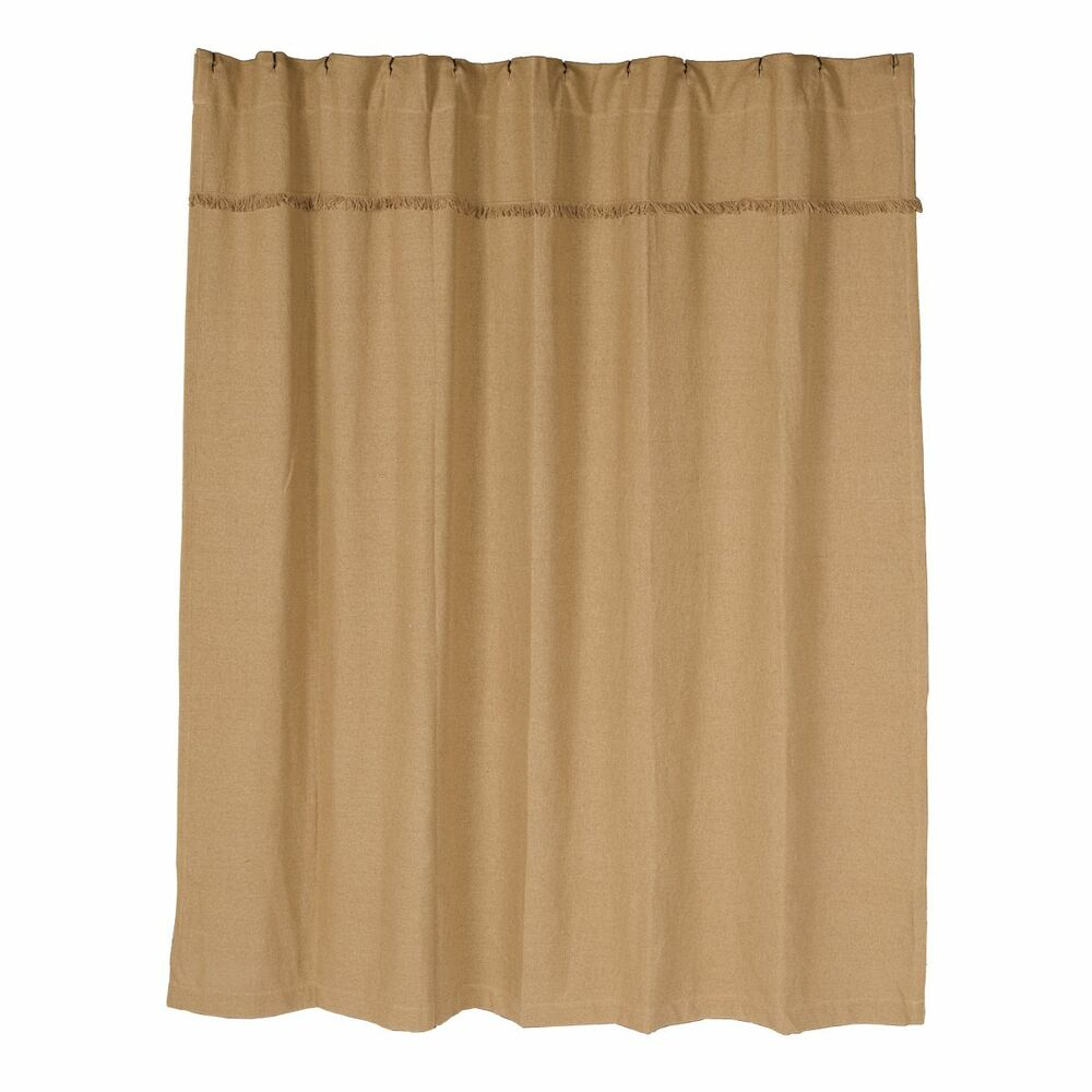 Burlap natural shower curtain khaki beige cotton rustic