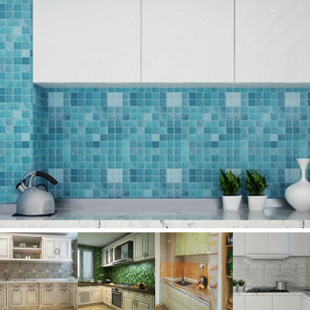 Kitchen Wall Border Decals: Waterproof Self Adhesive Border Wall Sticker Mosaic Tile
