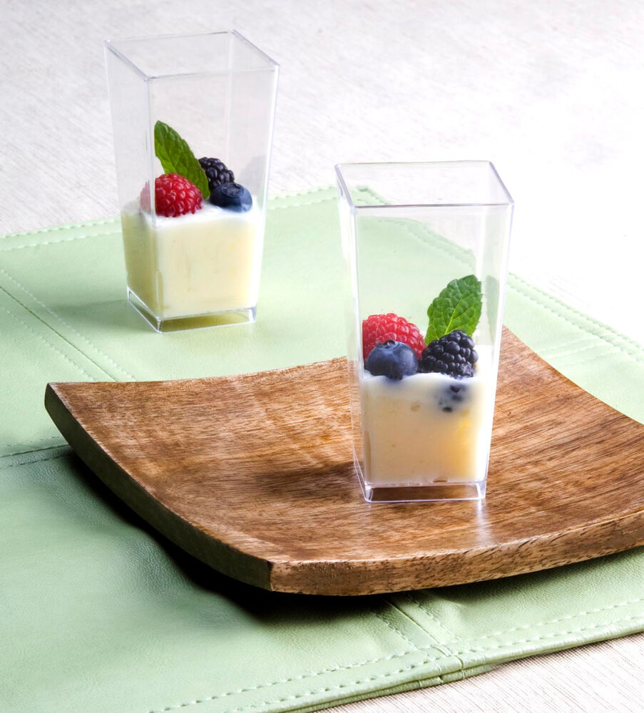 3oz Square Tall Dessert Cups Plastic Tasting Sample Shot