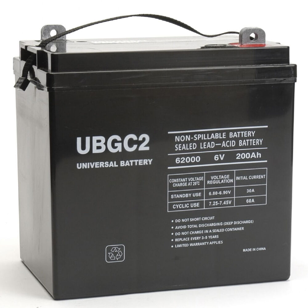 universal power group ubgc2 sealed agm deep cycle 6v 200ah battery golf cart rv ebay. Black Bedroom Furniture Sets. Home Design Ideas