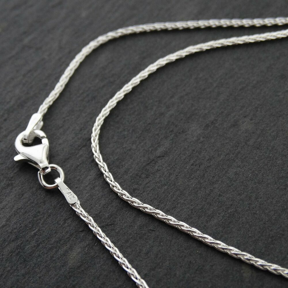 Sterling Silver 1mm SPIGA Wheat Chain Necklace 030 Italy