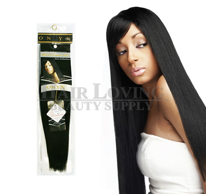 Onyx Black Diamond 100 Human Hair Natural Essence Yaki Weave Extension 8 18