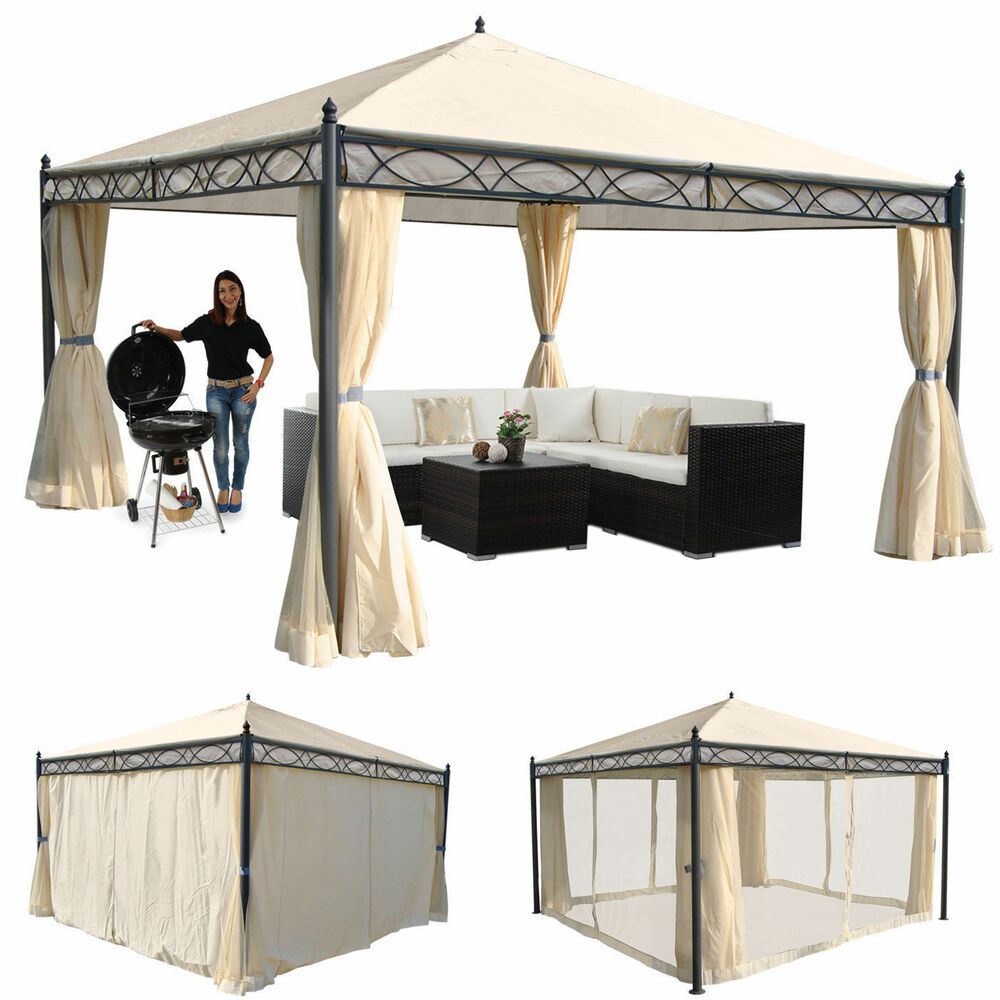3x3 4x3 4x4 5x3 m pavillon garten terrasse sonnenschutz. Black Bedroom Furniture Sets. Home Design Ideas