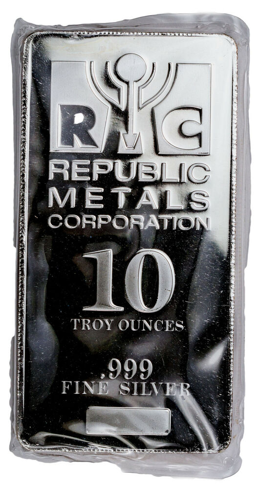 Republic Metals Corp 10 Troy Ounce 999 Fine Silver Bar