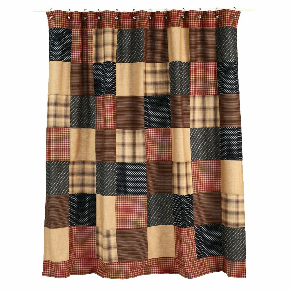 PATRIOTIC PATCH Shower Curtain Country Rustic Patchwork