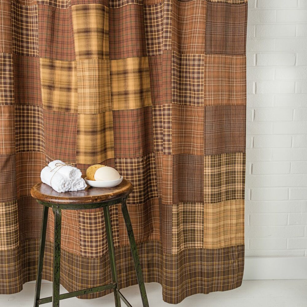 PRESCOTT Shower Curtain Country Rustic Patchwork Cabin