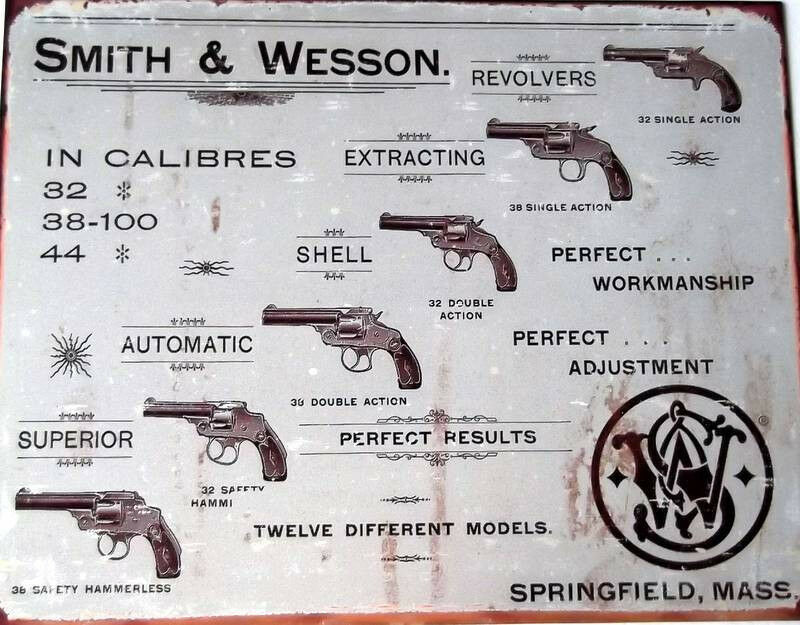 Smith N Wesson Springfield Ma Metal Sign 16 X 12 Man