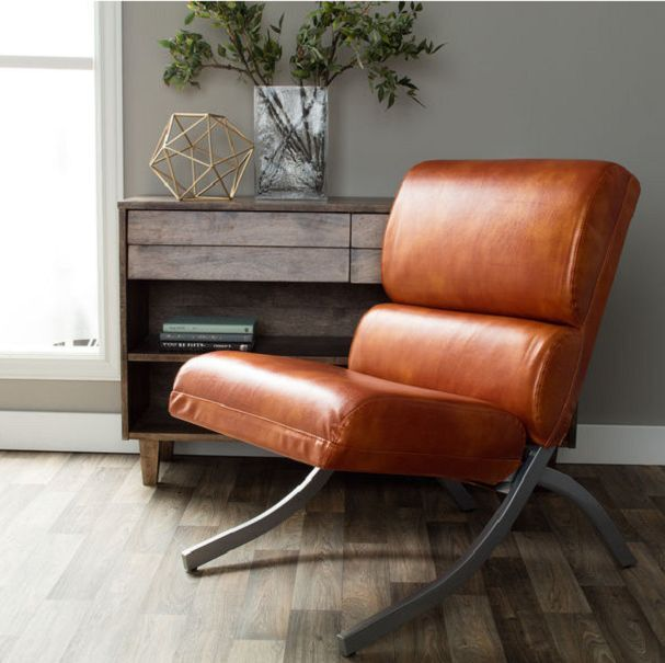 faux leather chairs contemporary rust accent living waiting room