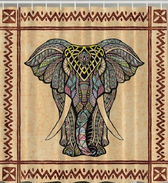 Paisley shower curtain - Tribal African Elephant Fabric Shower Curtain Majestic