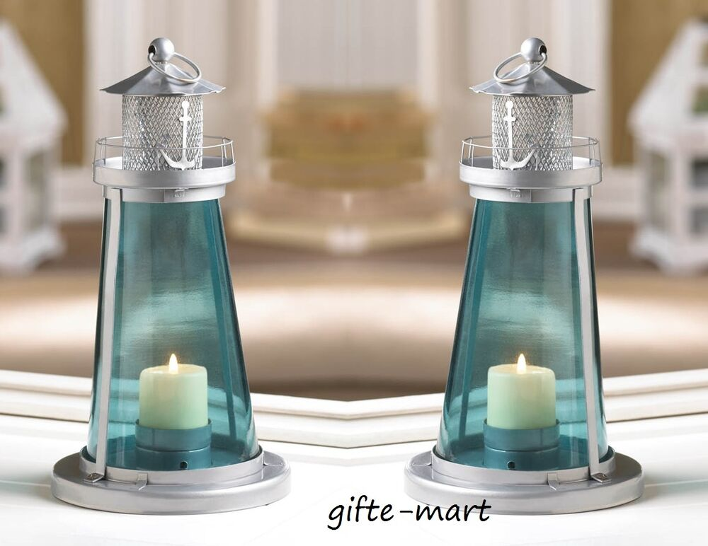 Blue nautical quot lighthouse candle holder light wedding