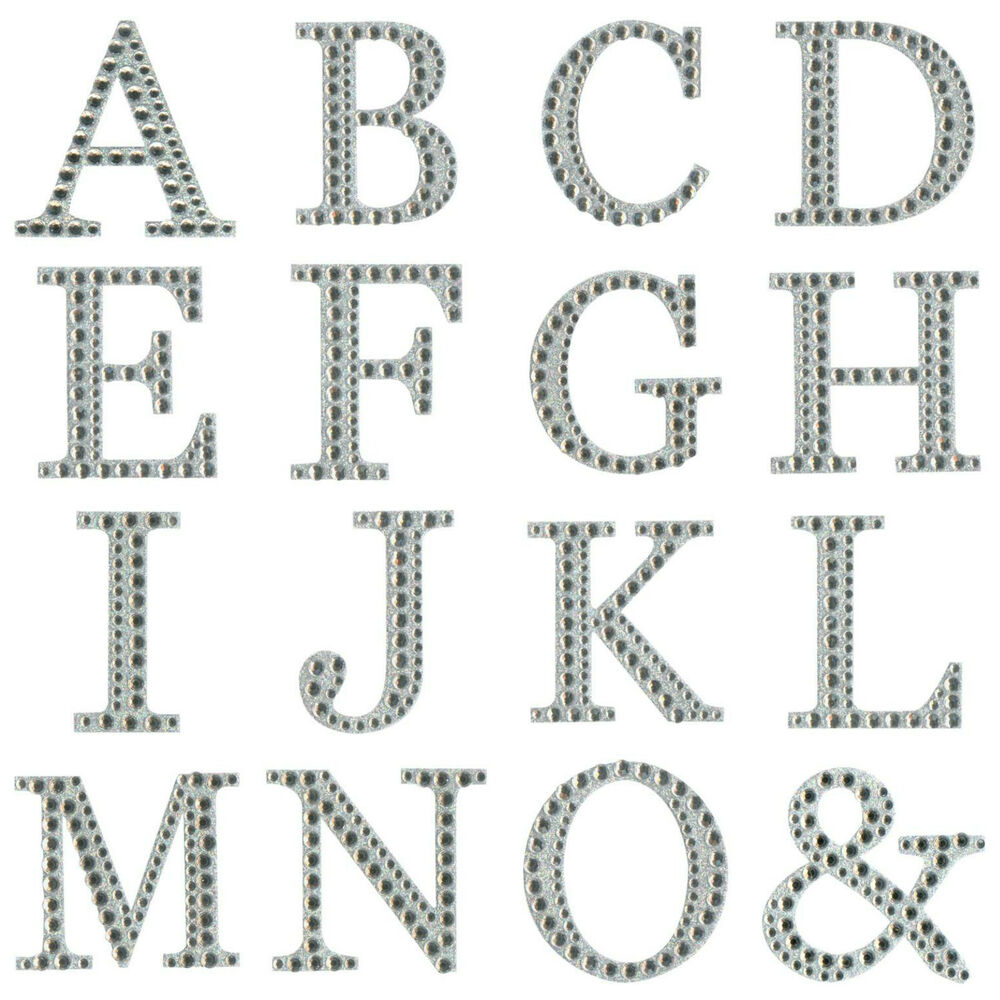 large self adhesive 5cm diamante glitter single letter