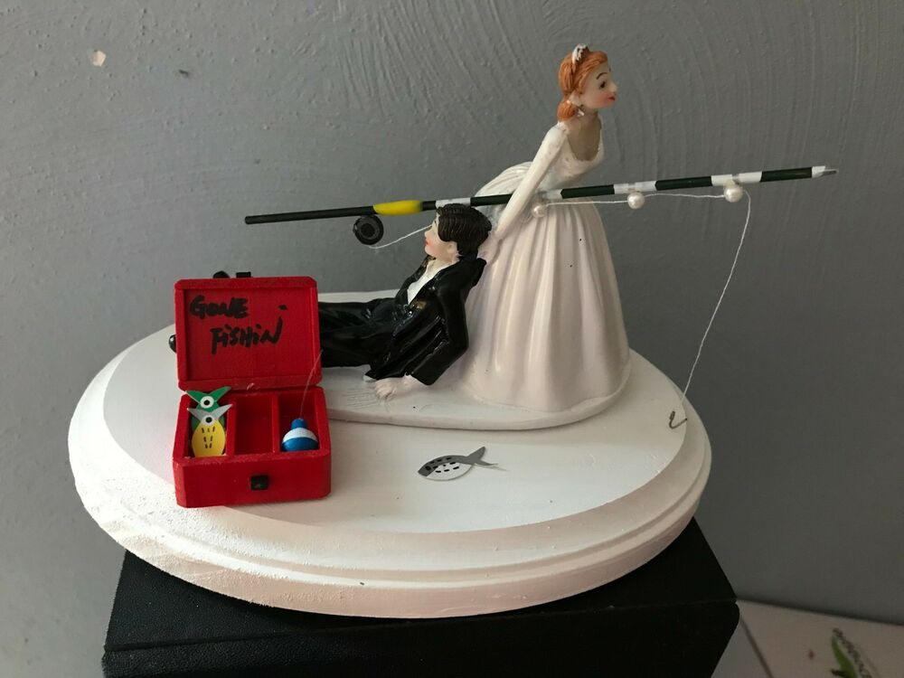 fishing cake toppers cake topper wedding bridal groom going fishing 4084