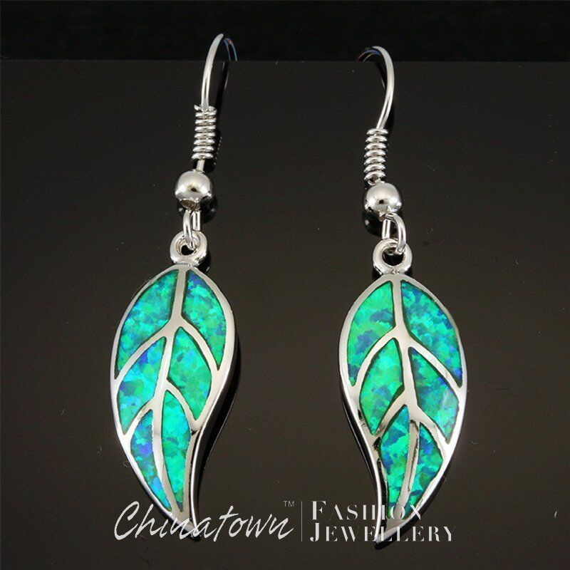 Nature Leaf Shape Kiwi Green Fire Opal Inlay Silver