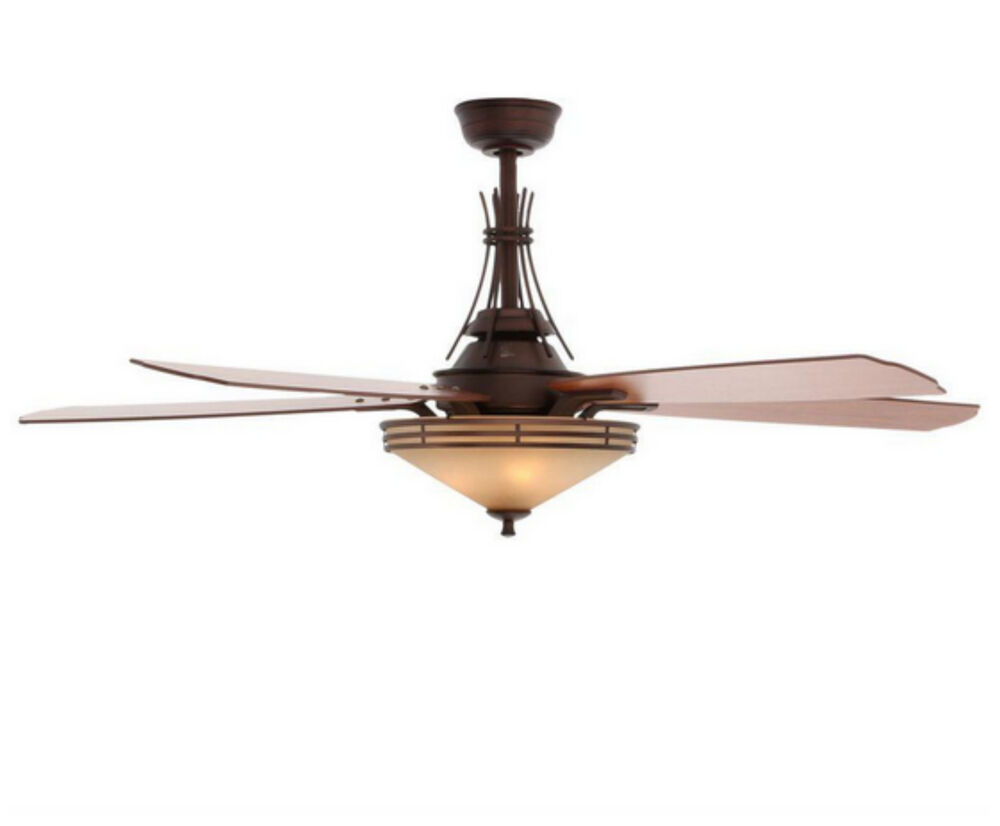 indoor modern bronze ceiling fan with 3 light shades kit remote control 5 blades ebay. Black Bedroom Furniture Sets. Home Design Ideas