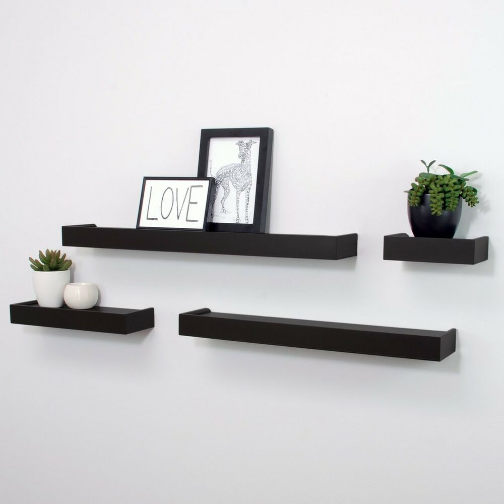 Floating Display Ledge Shelves Set Of 4 Wall Mount Shelf Black Home Decor 627242077807 Ebay