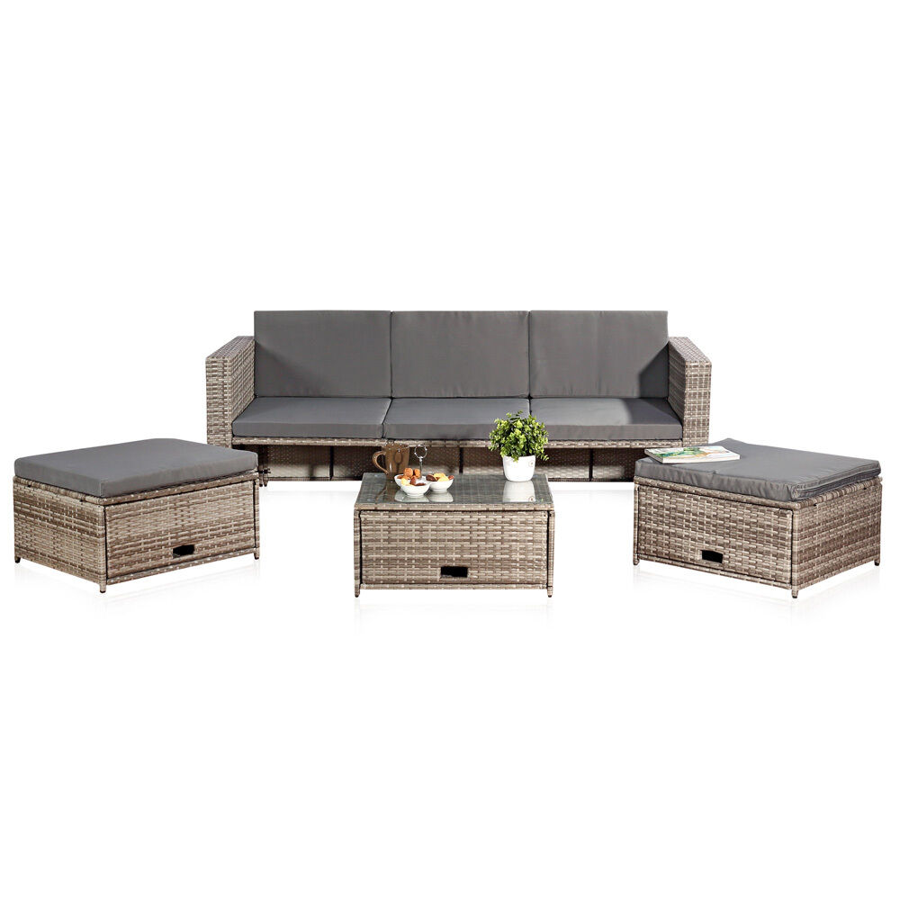polyrattan sitzm bel set sofa tisch 2 hocker grau lounge gartenset rattanm bel m ebay. Black Bedroom Furniture Sets. Home Design Ideas