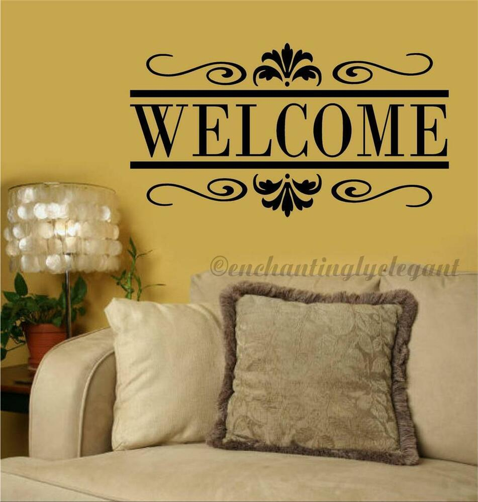 Word Wall Art Vinyl Lettering Home Decor ~ Welcome scroll vinyl decal wall sticker words lettering