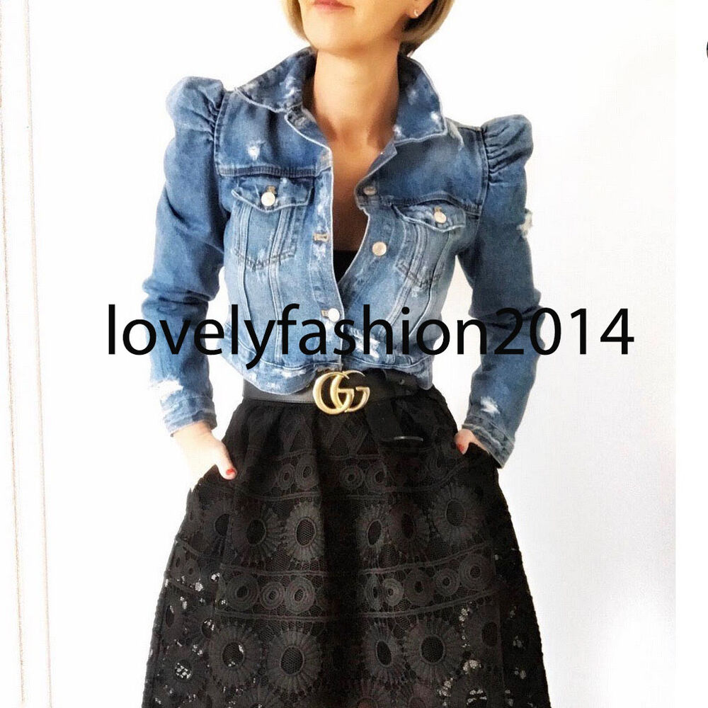 65bdb593 Details about ZARA WOMAN DENIM JACKET WITH PUFF SLEEVES XS-L REF. 5252/016