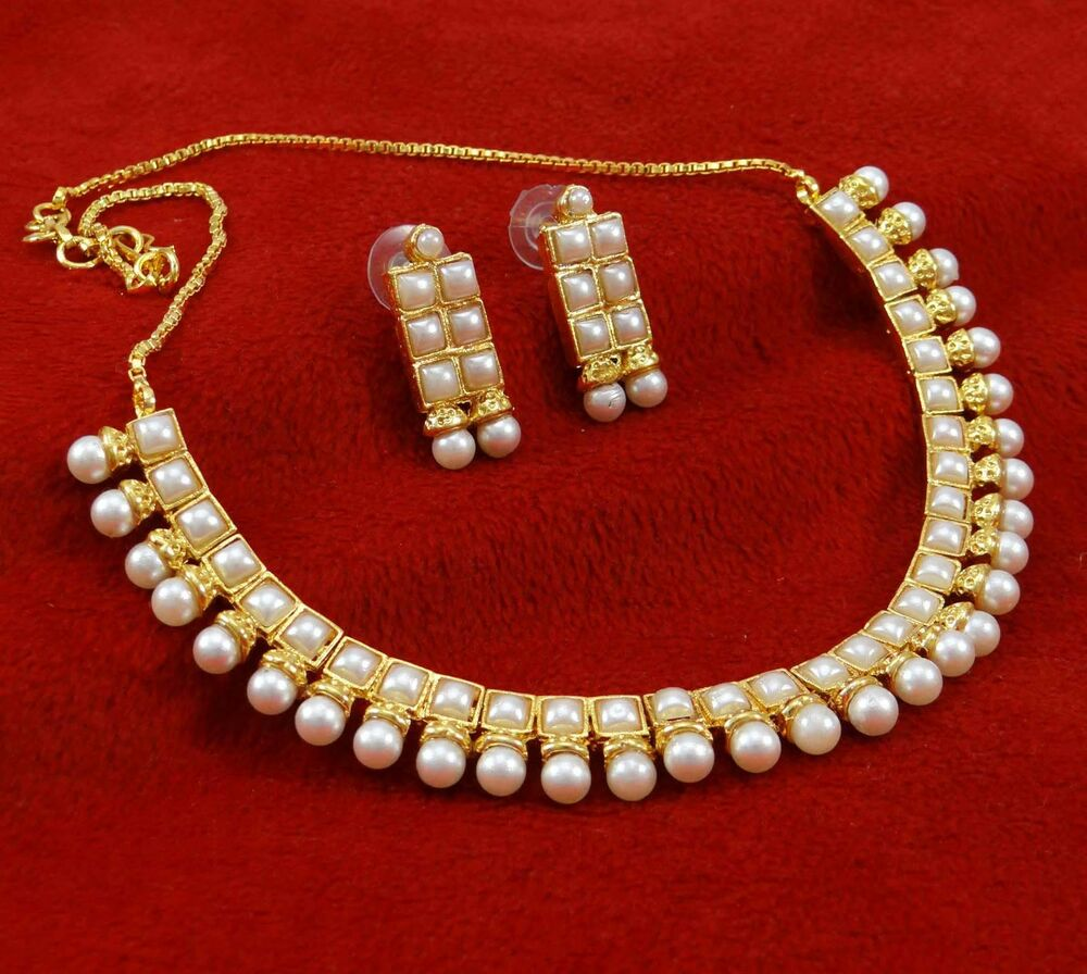 Gold Plated Necklace Earrings Set Indian Traditional: Traditional Gold Plated Ethnic Pearl Necklace Earrings Set