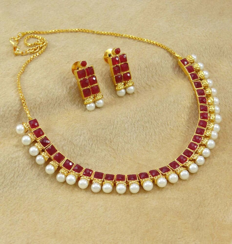 Indian Gold Plated Choker Necklace Traditional Bridal: Gold Plated Necklace Earrings Set Indian Traditional
