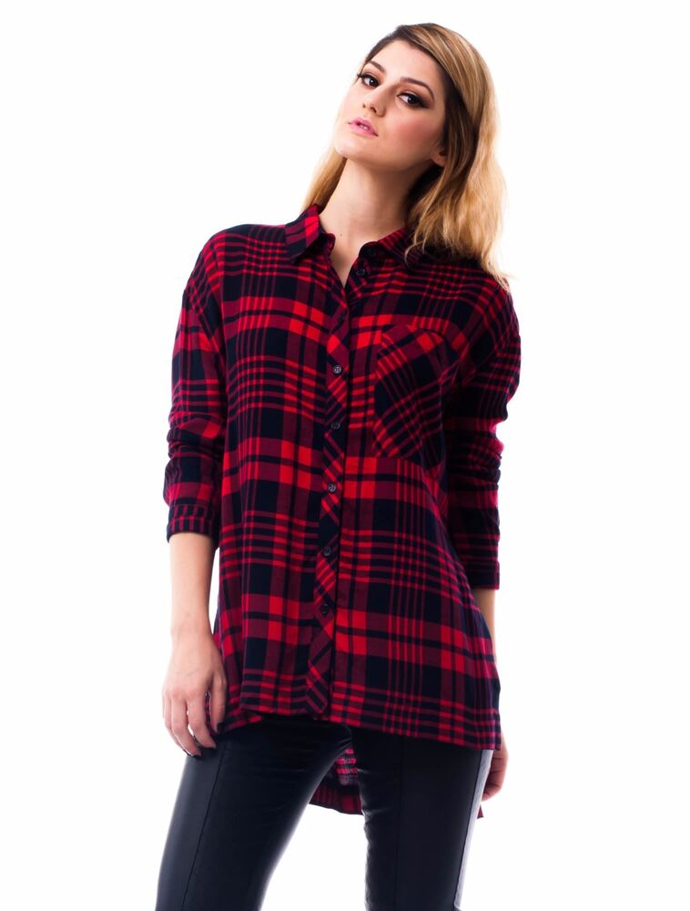 Womens Red Plaid Shirts